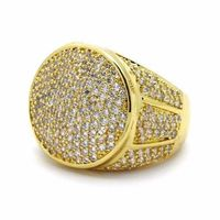 New 14k Gold Plated Cubic Zirconia Stoness Inside White Gold Stone Chucky Hip Hop Bling Ring £24.95