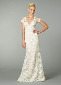 Timeless Sheath V-neck Sweep Train Lace Wedding Dress(