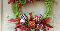 Christmas wreath grapevine wreath funky by MrsChristmasWorkshop
