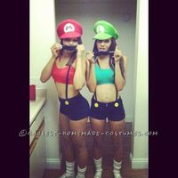 This Mario and Luigi couple costume for Women was a very simple and easy costume to put together. We bought blue high waisted shorts, and sewed yellow butt