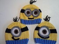 Ravelry: Minion Hats pattern by Lauren Irving. Worsted weight yarn.