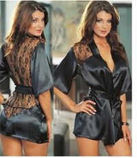 IMC 1PCS Hot Lingerie Plus Size Satin Lace Black Kimono Intimate Sleepwear Robe Night Gown Women Erotic Underwear $27.00