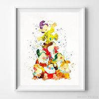 Seven Dwarfs, Snow White Print by Inkist Prints - Available at https://www.inkistprints.com