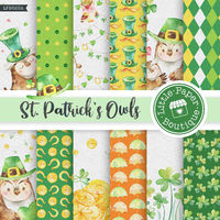 St Patricks Day Owl, Watercolor Leprechaun Owl, Watercolor Owl Paper, Watercolor St Patrick, Shamrock Horseshoe, Four Leaf Clover Owl $7.00