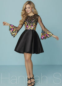 2017 Colorful Embroidery Sheer Bell Sleeves Black Multi Homecoming Dress