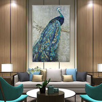 Gold and blue Peacock wall Art Picture Canvas Print on canvas Giclee animal art peacock art print Original extra Large Wall Art $61.25