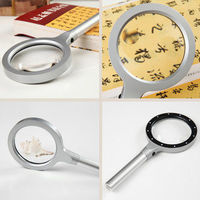 Hand Held 3x 8x Magnifying Glass Lens Magnifier 12 Light Reading Newspaper Gift