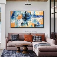 Framed wall art Abstract painting blue yellow color paintings on canvas huge size acrylic Painting Wall pictures home decor caudros $89.00