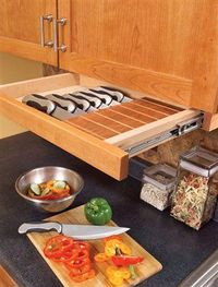 So smart! Save counter space and store your knives in an under-cabinet drawer (that you can install yourself) via
