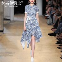 Vogue Asymmetrical Printed Slimming Polo Collar Summer Short Sleeves Stripped Dress - Bonny YZOZO Boutique Store