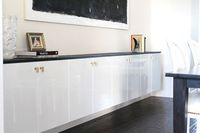 Try Ikea cabinets in your dining room for a modern look just use updated hardware to give it a touch of glam - modern alternative to a china cabinet or sideboard?!
