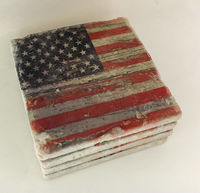 Distressed American Flag Coasters Natural Stone Set of 4 with Full Cork Bottom Rustic Patriotic $34.00
