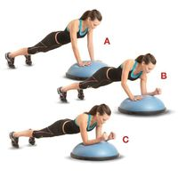 Start in a pushup position, with your hands on a BOSU trainer and your feet hip-width apart (a). Lower your left forearm onto the BOSU (b), then your right, keeping your body in a straight line (c). Push back to the starting positi...