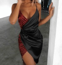Sequin Surplice Wrap Asymmetrical Bodycon Dress at www.fashionsqueen.com