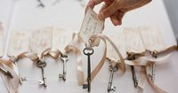 #Table assignments using Blush ribbon + #vintage keys-romantic, recycled and so unique!