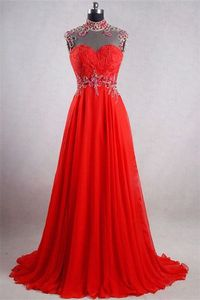 A Line High Neck Backless Long Red Chiffon Beaded Evening Prom Dress
