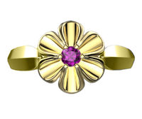 18K Yellow gold Flower Ring with Amethyst Solitaire Flower Ring Leaves Ring Promise Ring Unique Engagement Ring $490.00