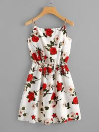 Floral Print Random Self Tie Cami Dress $45.00