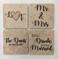 Wedding Coasters, Established, Personalized Coasters, Natural Stone, Set of 4, Mr & Mrs, Eat Drink and Be Married, Wedding Gift $28.00
