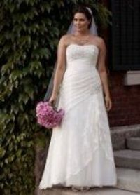 David's Bridal Wedding Dress: Strapless Lace Fit-and-Flare Gown with Side Split Style 9YP3344