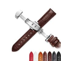 Genuine Leather 12mm - 24mm Universal Steel Watch bands/straps with Butterfly buckle clasp $17.99