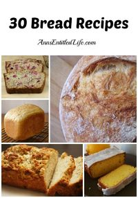 "30 Bread Recipes - I love bread! If you enjoy bread as much as I do you will love this list of 30 Bread Recipes �€"" there are bread machine, no-knead, and knead yeast recipes, as well as all kinds of quick bread variations. http://www.annsentit..."