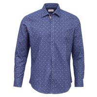 Create a stylish look with this Oxford Men grey dots on blue casual shirt. Woven in Egyptian cotton. this casual shirt has a fine finish.  �€� 100% Cotton  �€� Classic collar  �€� Full Sleeve  �€� Oxford Men  �€...