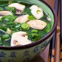 Healing Asian Soup with Ginger Recipe Soups with homemade chicken stock, fresh ginger root, sliced mushrooms, spinach leaves, green onions