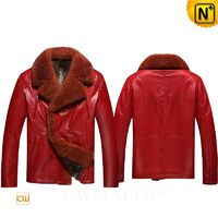 Patented Leather Jackets | Mens Red Leather Shearling Jacket CW890103 | CWMALLS.COM