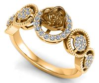 18K gold Flower Ring Promise Ring Unique Engagement Ring with Side Diamonds Floral ring Birthday Gift For Her $975.00