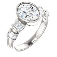 2.0 Ct Oval Diamond Engagement Ring Continuum Sterling Silver $9285.47