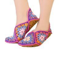 Crochet eco friendly slippers as Granny square. Slippers size 8 9 10 $35.00