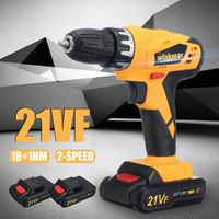 21VF Electric Cordless Power Drill Double Speed Screwdriver 18+1 Torque W/ 1 or 2 Li-Ion Battery