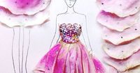 (�€��Œ��€�). Fashion Illustrations With Real Flower Petals As Clothing
