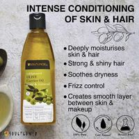 Best Virgin Olive Healthy Hair Oil Makeup Primer & Remover Benefits Pure Thick Hair, Moisturizes & Conditions Skin-Hair, Soft Skin Whitening & Hair Growth Visit here to Buy Now: https://www.soulflower.biz/collections/carrier-oils-sc/products/...