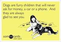 Dogs are furry children that will never ask for money, a car or a phone. And they are always glad to see you.