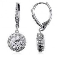 Sterling Silver 925 Cubic Zirconia CZ Flower Dangle Leverback Earrings