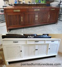 This buffet table w painted white and replaced the hardware. Here are the before and after pictures: