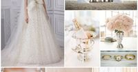 An elegant rose, champagne and silver wedding inspiration board by Rose and Ruby Paper Co.