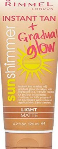 Rimmel London Sun Shimmer Light Matte Waterproof Instant Tan Gradual Glow Tube 125 ml No description (Barcode EAN = 3607342598867). http://www.comparestoreprices.co.uk/beauty-products/rimmel-london-sun-shimmer-light-matte-waterproof-instant-tan-gr...