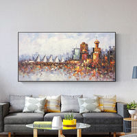 Vancouver Canada skyline oil paintings on canvas original art Cityscape Palette knife heavy texture painting wall pictures framed walll art $129.00