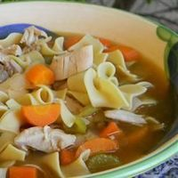 Chef John's Homemade Chicken Noodle Soup - sounds great, but I think i'll pass on the (disgusting) chicken fat.