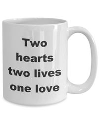 Summer wedding - two hearts two lives one love gift white ceramic coffee mug $18.95