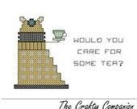 Dalek Tea Time - Doctor Who Inspired PDF Cross Stitch Pattern.