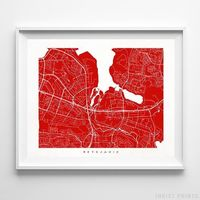 Reykjavik, Iceland Street Map Horizontal Print by Inkist Prints - Available at https://www.inkistprints.com