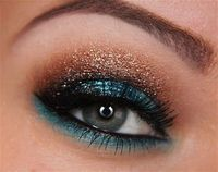 aqua and brown sparkly eyeshadow