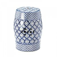 Blue And White Ceramic Decorative Stool by Decorshop $99.95