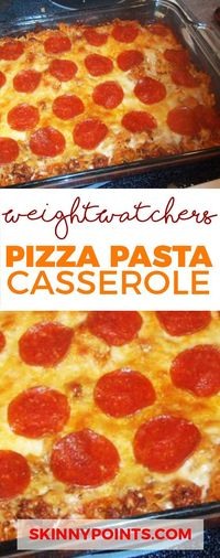 This Pizza Pasta casserole come with only 5 Weight watchers Smart points and 6 Weight watchers Points Plus. Servings: 10 Calories 254.3 | Fat: 8.4 g | Carbs: 24