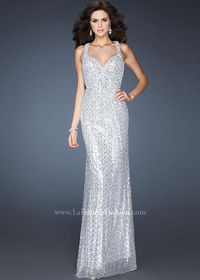 18421 Light Silver Full Sequined Evening Prom Dress