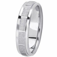 14K White Gold 6 millimeters wide Wedding anniversary Band gift for him $515.00